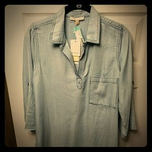 Skies are Blue Denim Blouse